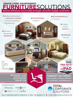 TCS Furniture Full Page Ad - Outside Back Cover Leading Age Expo Program