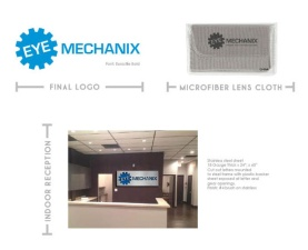 EYE MECHANIX Final Logo, Lens Cloth, Sign •Fall 2014