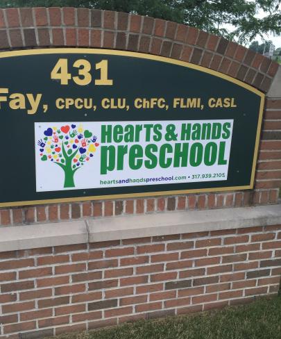 Hearts & Hands Preschool Front of Building Main Sign