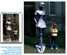 """My Father-in-Law made a sculpture/swing for his then-only child to play with a sculpture he called, """"Silver Lady."""" I restored the photo and had it framed for her and my husband."""