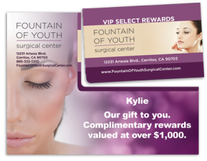Fountain of Youth Gift Card Mock Popped for Sales Tool
