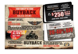 Large Double Gift Card Mailer Popped for Harley Dealerships
