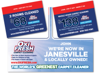 Oxi Fresh Carpet Cleaning Service Double Giftcard Mocked Popped for Sales Tool