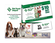 Pet Food Depot with SPonsored Gift Card Mocked Popped for Sales Tool