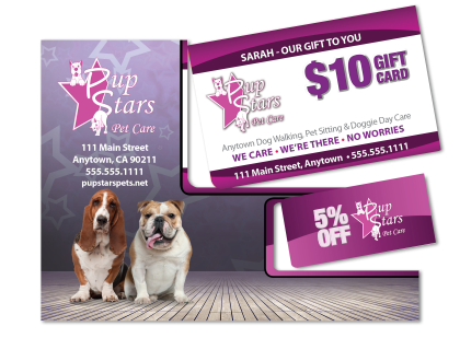 Pup Stars Pet Store Giftcard KeyTag Mocked Popped for Sales Tool