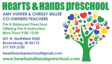 Hearts & Hands PreSchool Business Card Front 2016