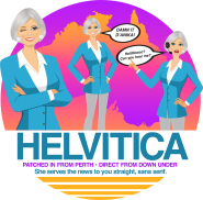 "Phonetically spelled ""Helvitica"" Design for John Hill of ""Andy Cohen Live"" Radio Sirius XM (Think Heavily Australian-Accented Character!) Proceeds went to ASPCA"