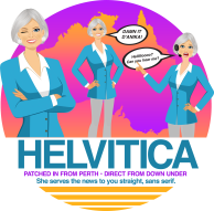 """Phonetically spelled """"Helvitica"""" Design for John Hill of """"Andy Cohen Live"""" Radio Sirius XM (Think Heavily Australian-Accented Character!) Proceeds went to ASPCA"""