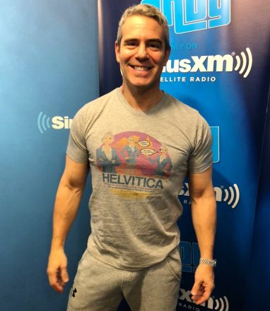 "BravoTVs Andy Cohen Modeling His ""Helvitica"" Shirt for the ASPCA"