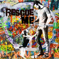 """Rescue Me"" Graffiti Beagle August 2018"