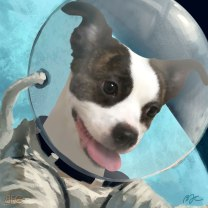 "Raffle Art Winner! Raised $4000 for PAWS Chicago! ""Wilber in Space"" • April 2019"