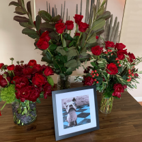 Commissioned 14 bouquet installation + PawPrint Bergie for Newlywed Valentine's Surprise!